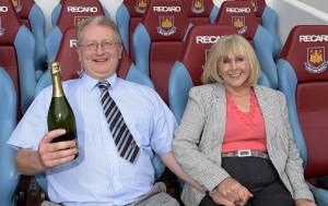 Sitting in Big Sam's hot seat in the dug-out (with Patricia)