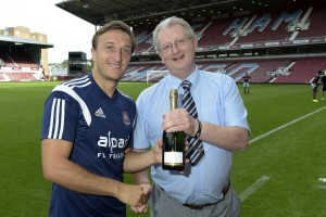 Presenting Man of the Match award to Mark Noble