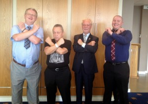 Cross arms 'Irons' pose with David Gold and David Sullivan (and Brother Ian)