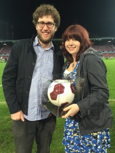 Nick and Fran Rayney with signed match-ball