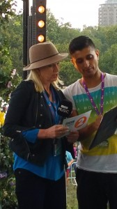 Anneka Rice being briefed