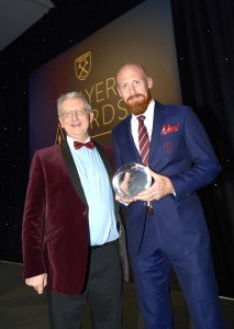 Presenting James Collins with his award