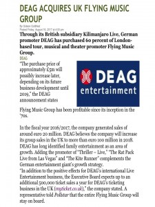 DEAG acquires 60% of Flying Music Group Ltd