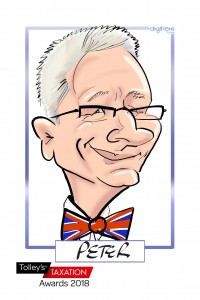 Peter's caricature drawn by Chrissy Marshall at the Tax Awards evening